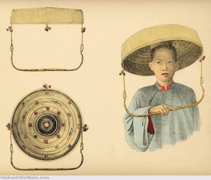 cô dâu Đông Dương đầu thế kỉ XX, mặc áo cặp, trong đỏ ngoài xanh, đội nón cụ