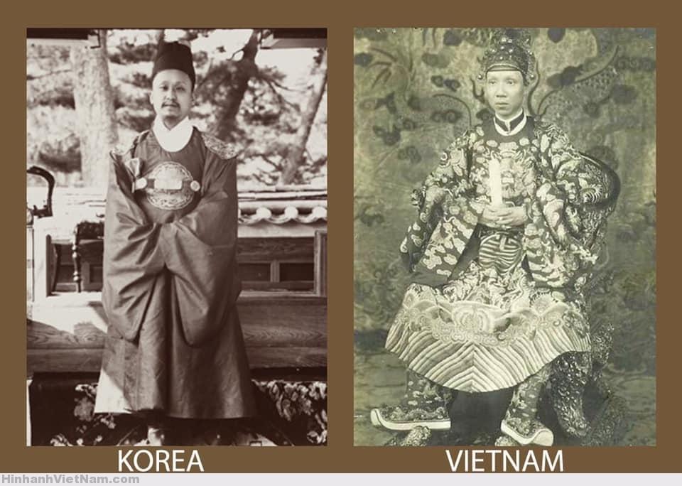 Trang phục đại triều của vua Triều Tiên và Việt Nam (vua Khải Định)