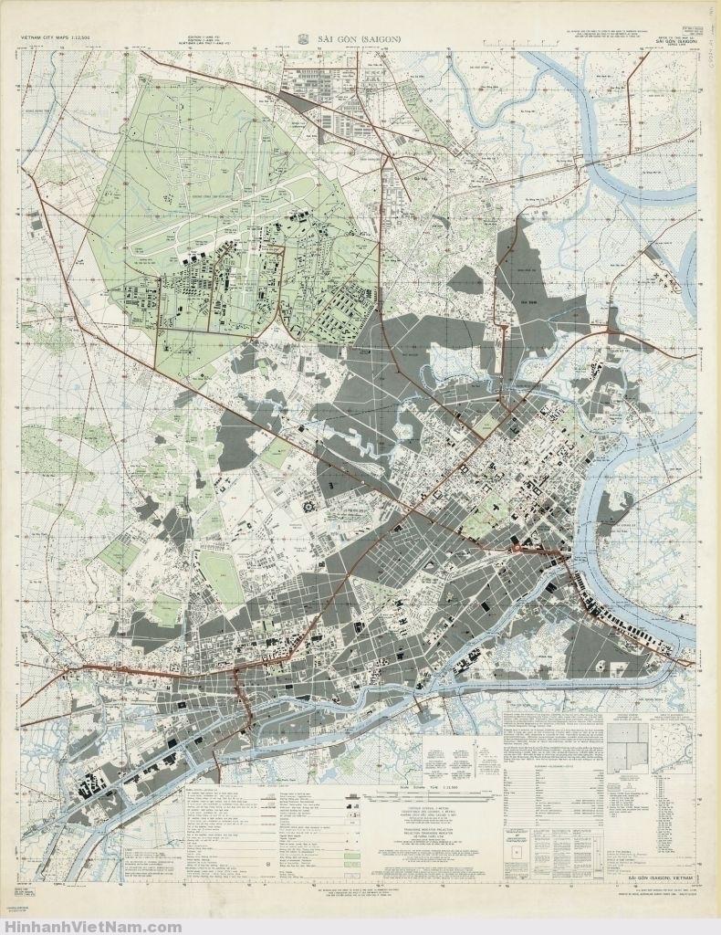 BẢN ĐỒ SAIGON 1963. Ấn hành lần thứ nhất tháng 8/63. Royal Australian Survey Corps (RA Svy) in năm 1964.