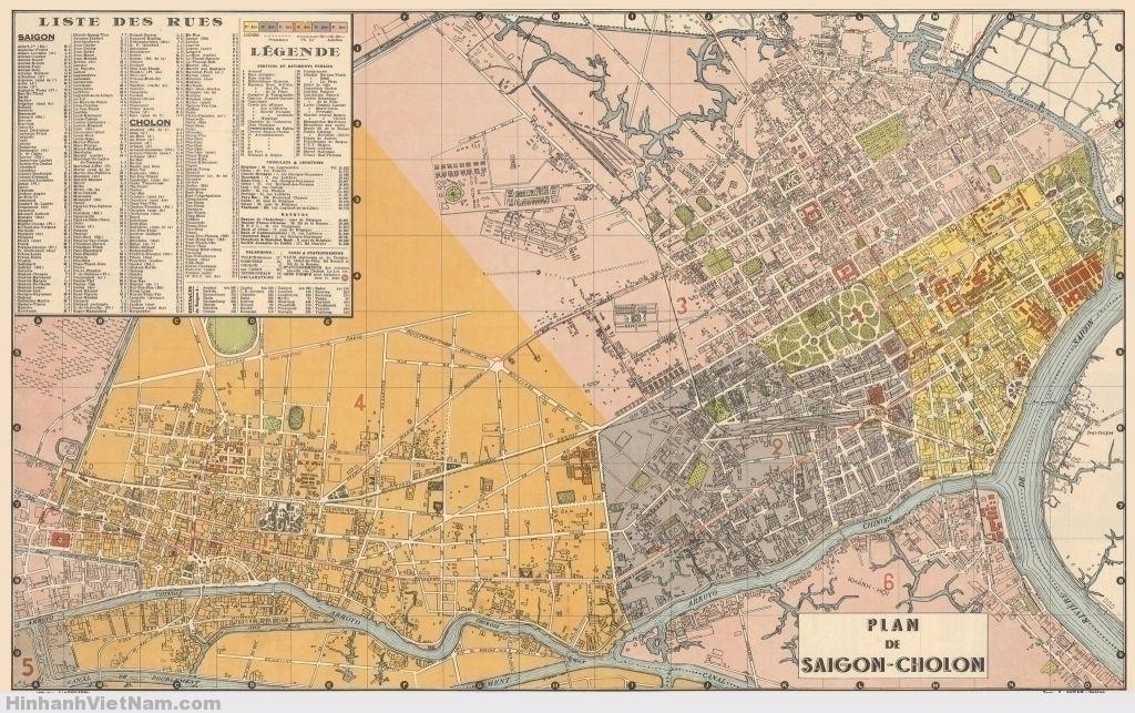 SAIGON 1952-1955 - Bản đồ phóng lớn, bề ngang trên 2m