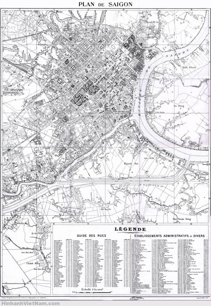 Saigon Map - 1947 . SÀI GÒN VÀ NHỮNG TÊN ĐƯỜNG XƯA