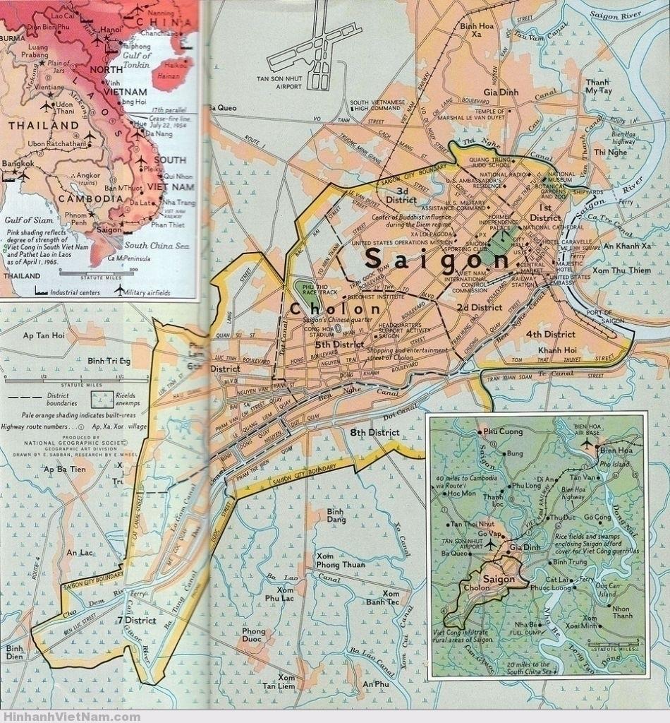 National Geographic Map of Saigon, 1965 bản đồ Sài Gòn 1965 trên tạp chí National Geographic
