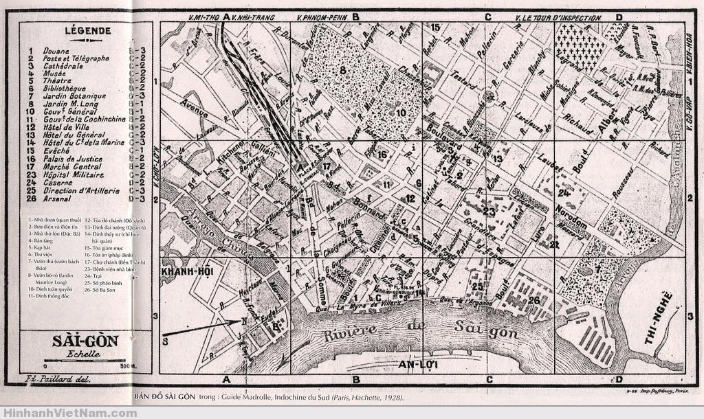 Saigon Map_1928 - (hướng Bắc vẽ về phía bên phải)
