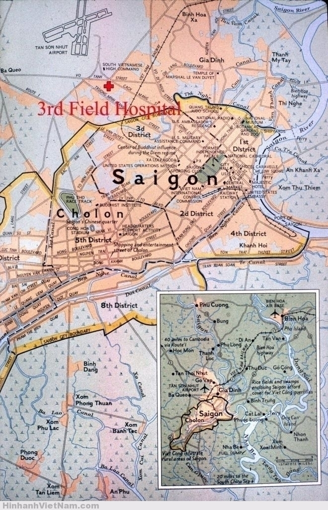 Saigon1966 - Map showing location of 3rd Field Hospital