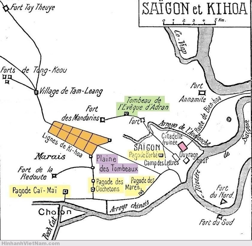 Map of Saigon and Ky Hoa - Plan de Saigon avant la conquête Chiến tuyến Chí Hòa của Nguyễn Tri Phương (màu cam) và chiến tuyến các ngôi chùa của quân Pháp (màu vàng)