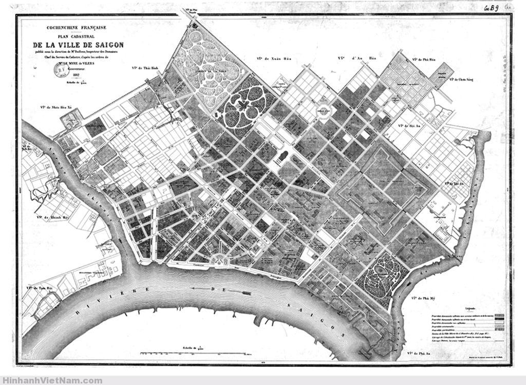 Bản đồ địa chánh Qui hoạch SAIGON năm 1882 Plan cadastral de la ville de Saigon 1882 - CEFURDS Map Collection