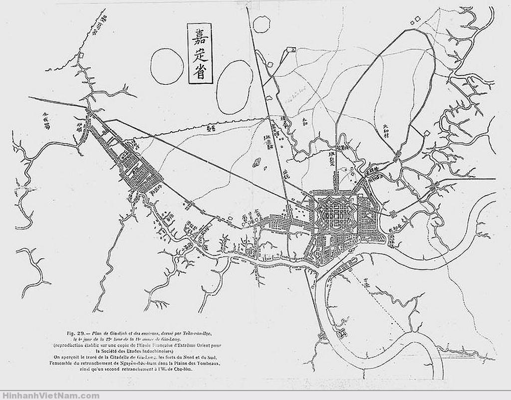 Bản đồ Sài Gòn - Gia Định do Trần Văn Học vẽ năm 1815