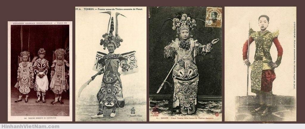 diễn viên bên bìa phải có lẽ là của Hoàng gia Campuchia nhưng trên postcard đã chú thích là Diễn viên cung đình Huế