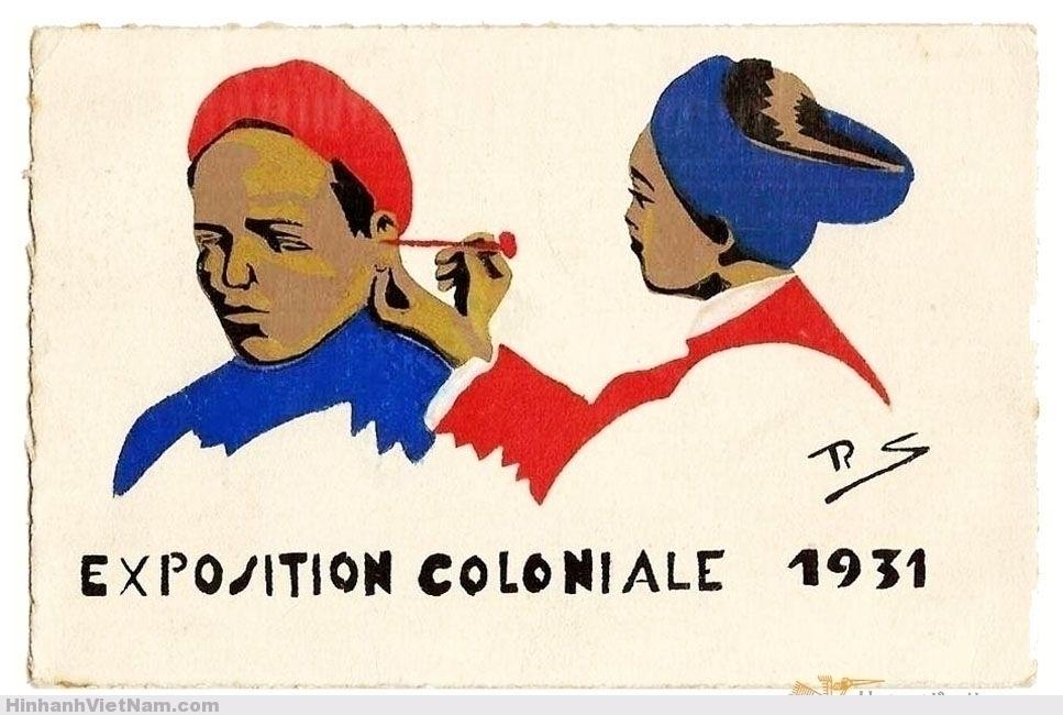Thợ lấy ráy tai - postcard vẽ tay bằng mực tàu, dịp Triển Lãm Thuộc Địa 1931.
