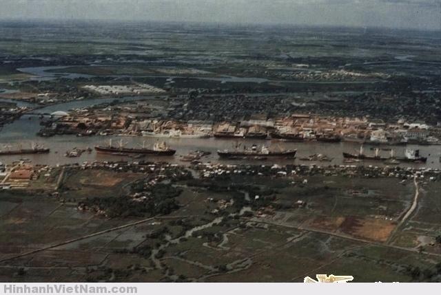 Aerial view of Saigon river near Newport. 8 May 1970