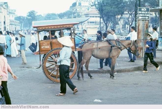 Bùng binh chợ Bến Thành năm 1966 do Darryl Henley chụp. Ở Sài Gòn – Gia Định thời ấy có nhiều bến xe ngựa chạy khắp các tuyến đường. Bến xe ngựa trước chợ Bến Thành luôn đông đúc và nhộn nhịp vì là trung vực trung tâm thành phố, xe vào bến phải xếp hàng, khi nào đủ 7-8 khách là xe lên đường theo tuyến về Đa Kao hay vào Chợ Lớn hoặc xuống Tân Thuận.