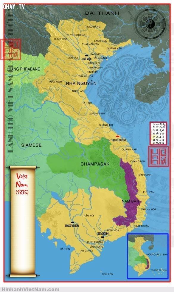 Bản đồ Việt Nam nhà Nguyễn 1835, bao gồm cả Hoàng Sa và Trường Sa