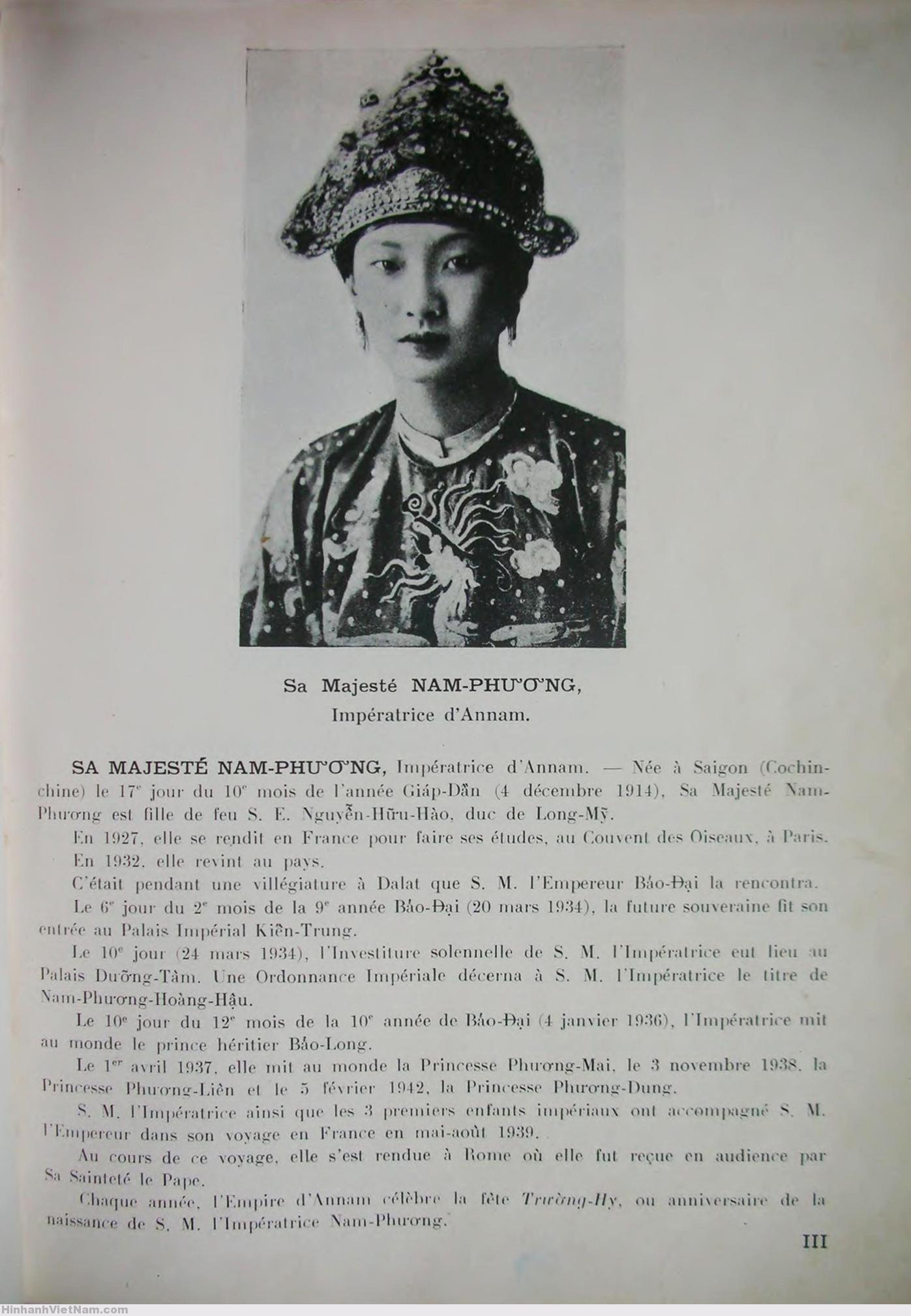 Souverains et notabilites d'Indochine (5) NAM-PHƯƠNG HOÀNG-HẬU