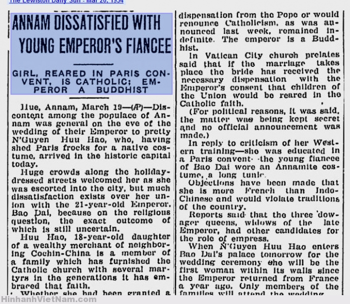 Annam Dissatisfied With Young Emperor's Fiance – The Lewiston Daily Sun – Mar 20, 1934