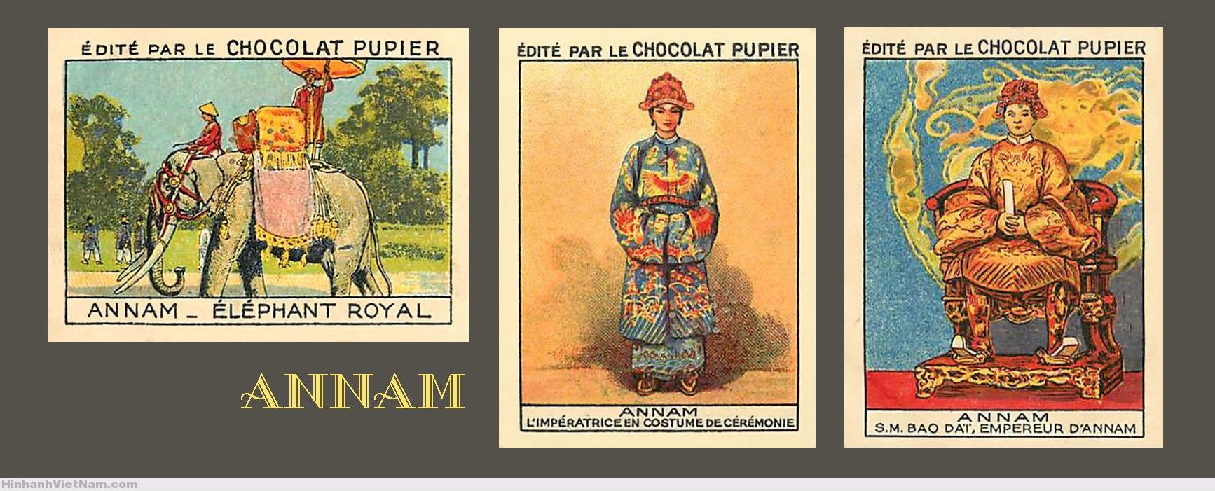 ANNAM – TRUNG KỲ – Voi của vua – Hoàng hậu Annam trong lễ phục – Hoàng đế Annam Bảo Đại