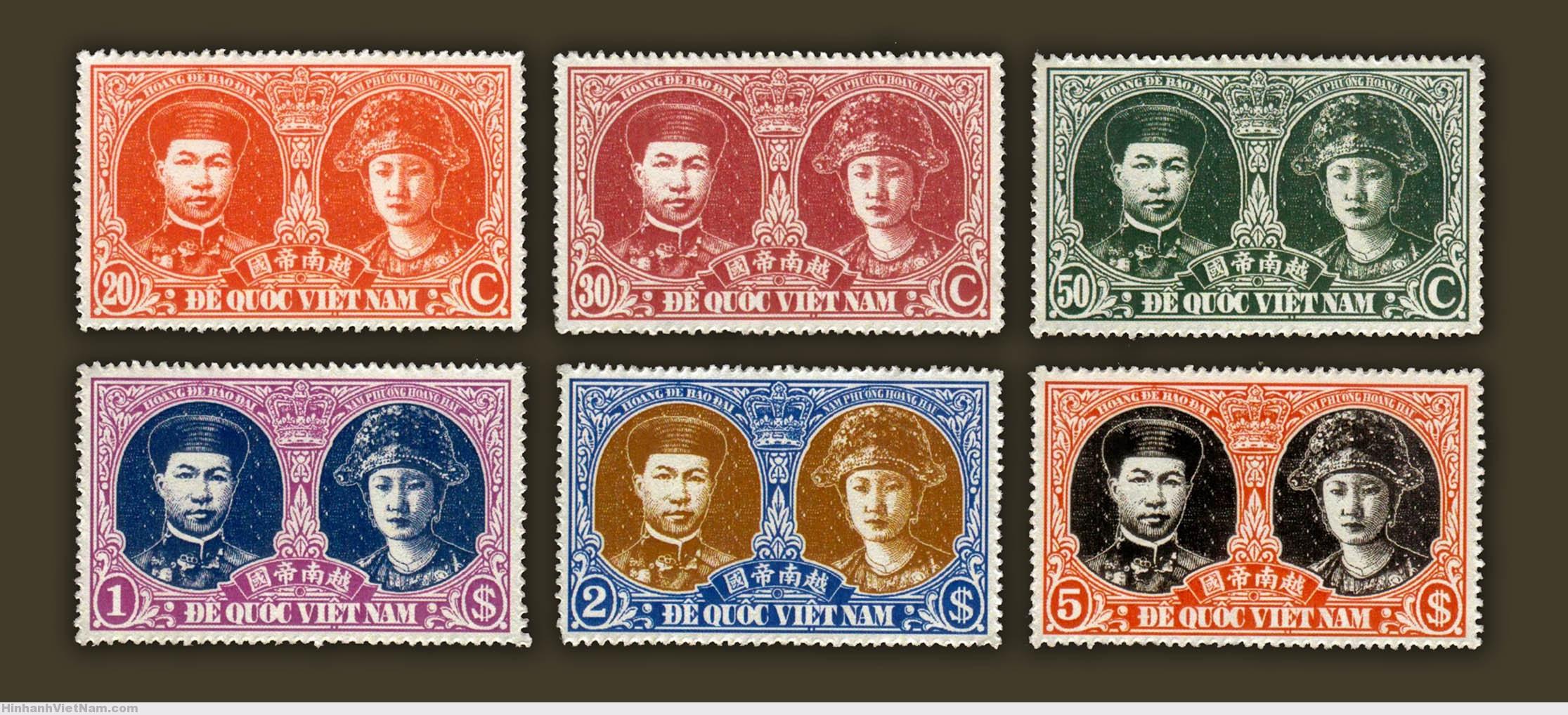 1945 ĐẾ QUỐC VIỆT NAM – Hoàng đế Bảo Đại & Nam Phương Hoàng Hậu (mẫu tem in thử)