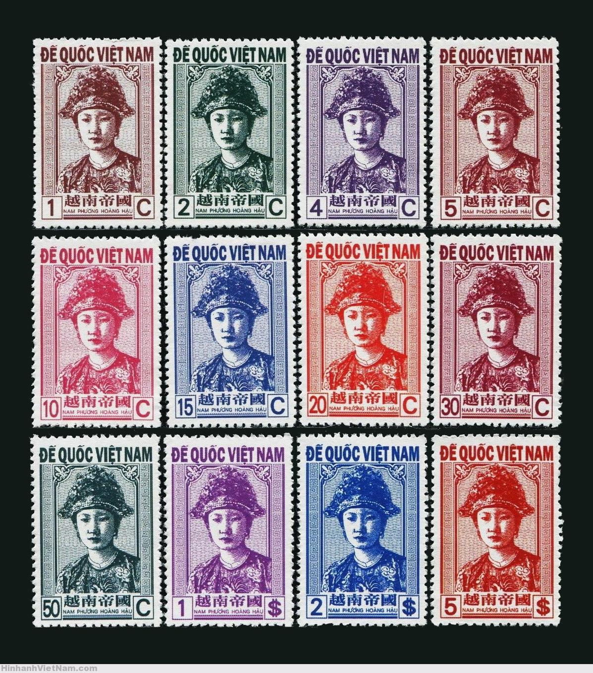 12 Empire of Vietnam 1945 Unissued Empress Nam Phuong Stamp Set