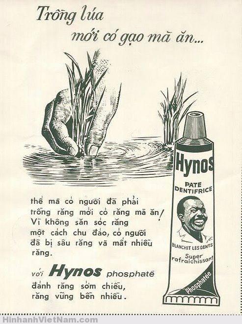 """Quảng cáo của Hynos trên báo Cái khéo của Hynos là thực hiện thêm nhiều biển quảng cáo ngoài trời tại những nơi có đông người qua lại nên đạt hiệu quả rất cao. Vào dịp Tết Nguyên Đán, tại chợ Bến Thành, lúc nào gian hàng Hynos cũng vang lên điệp khúc """"Hynos cha cha cha, cha cha cha Hynos…"""" át hẳn gian hàng của khô nai Ban Mê Thuột, khô cá thiều Phú Quốc với lời phóng đại """"nướng bên này đường, bên kia đường uống rượu cũng thấy ngon""""!, hơn thế nữa, ông Nghĩa còn đi đầu trong việc làm phim quảng cáo kem đánh răng Hynos. Ông bỏ tiền làm một đoạn phim ngắn tại Hồng Kông, ký hợp đồng với tài tử ăn khách nhất Hồng Kông thời bấy giờ là Vương Vũ. Phim chỉ vài phút diễn cảnh các nhân vật đi """"bảo tiêu"""" một thùng hàng, khi mở ra trong thùng chỉ chứa… toàn kem đánh răng Hynos với hình anh Bảy Chà cười toe toét! Phim được chiếu tại các rạp ciné trước khi vào xuất chính và khán giả thích thú dù biết đó là phim quảng cáo."""