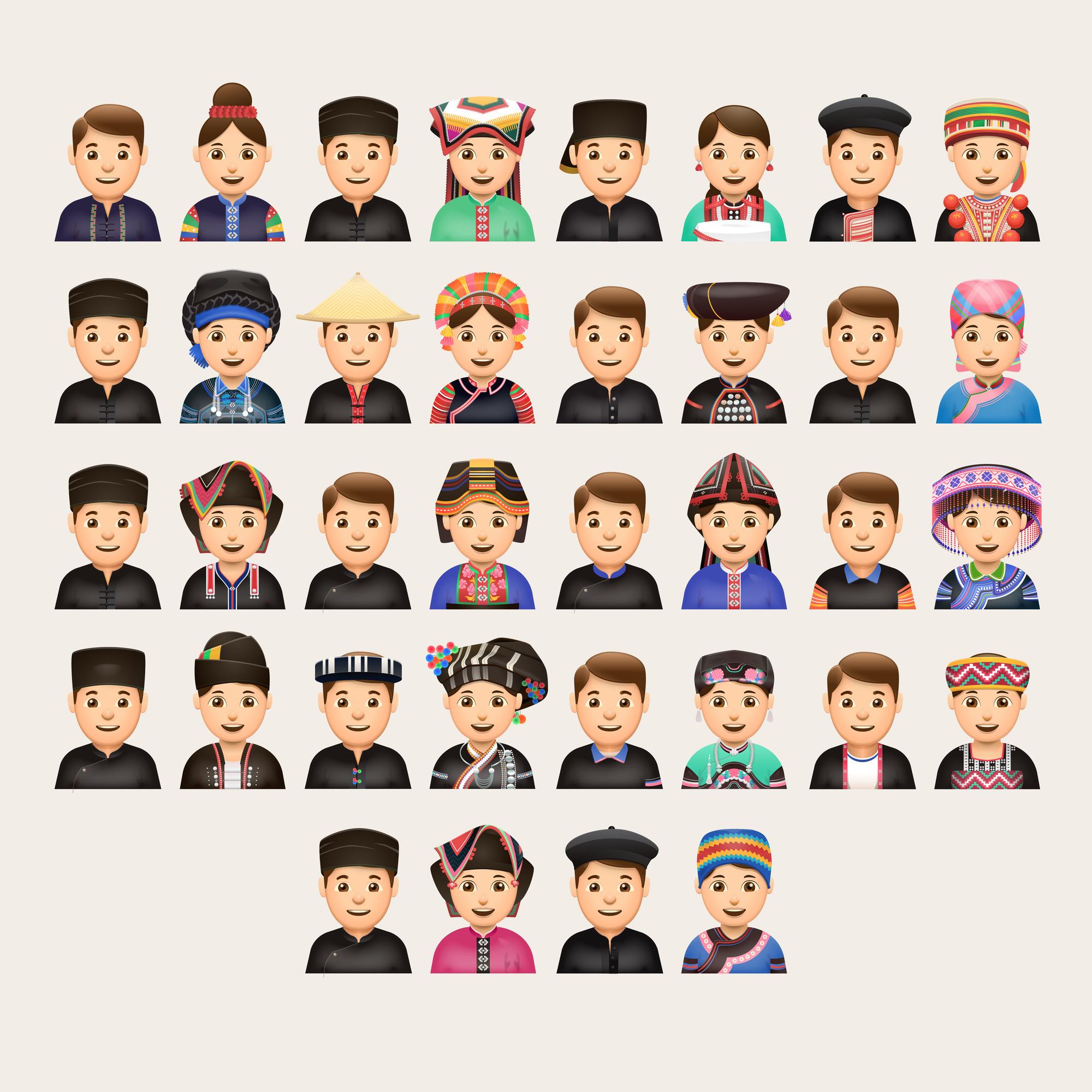 Hình ảnh trang phục 54 dân tộc được Nguyễn Minh Ngọc minh họa bằng những biểu tượng cảm xúc. (Ảnh nhân vật cung cấp)